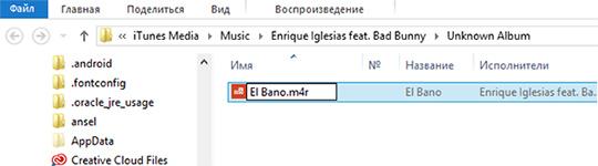 Изменить формат файла на m4r